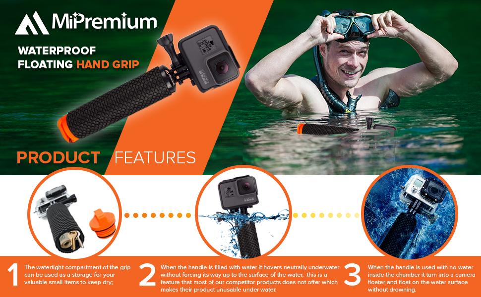 MIPREMIUM floating handler HerO5 hero6 hero7 hero4 hero3 hero2 hero1 And other action cameras