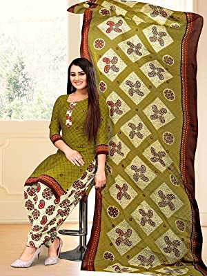 Rajnandini Women's Crepe Printed Unstitched Salwar Suit Material