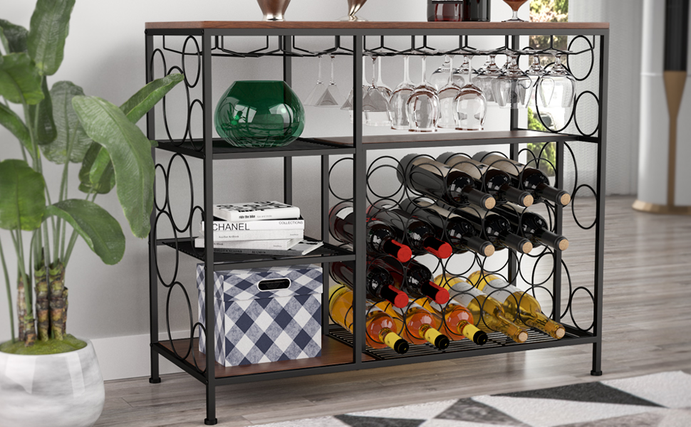 Wine Bar Cabinet For Kitchen Dining Room Console Table With Wine Rack Brown Mecor Industrial Metal