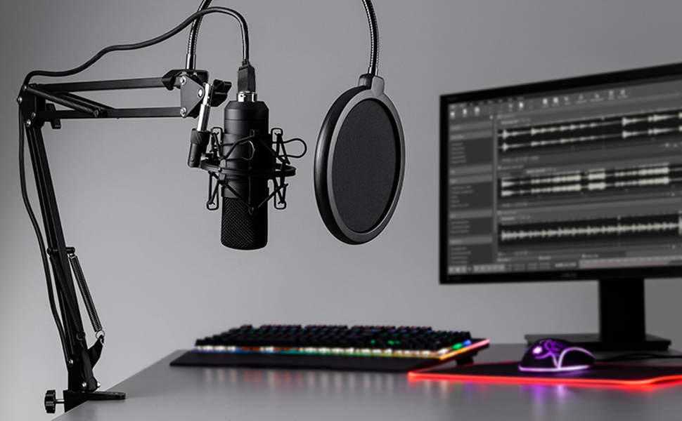 1  【2020 Upgraded】 USB Condenser Microphone for Computer, Great for Gaming, Podcast, LiveStreaming, YouTube Recording, Karaoke on Computer, Plug & Play, with Adjustable Metal Arm Stand, Ideal for Gift cb9185f1 e820 448d 8d4f 8d8a2f300a12