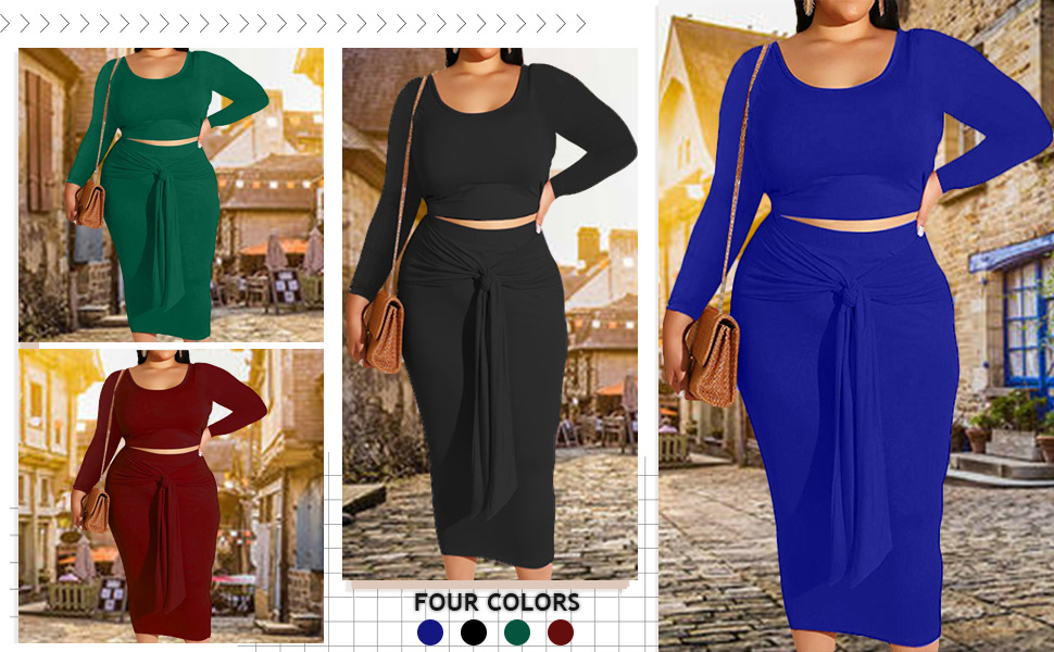 long sleeve solid plus size skirt sets
