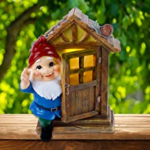 Solar Powered Garden Gnome Statues