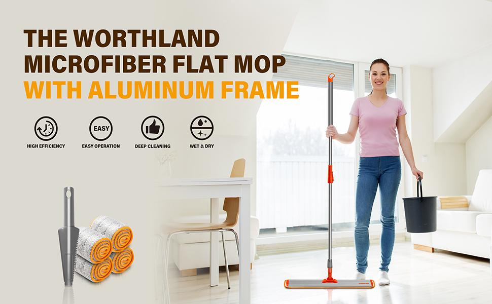 Worthland 24inch Microfiber Flat Mop