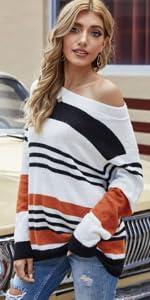 Jersey Punto Mujer Suéter Suelto Bloque de Color
