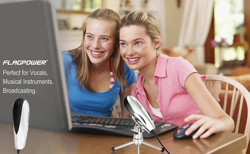 FLAGPOWER Plug &Play Home Studio USB Condenser Microphone
