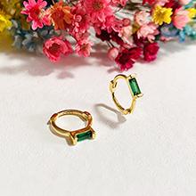 Green CZ huggie earrings