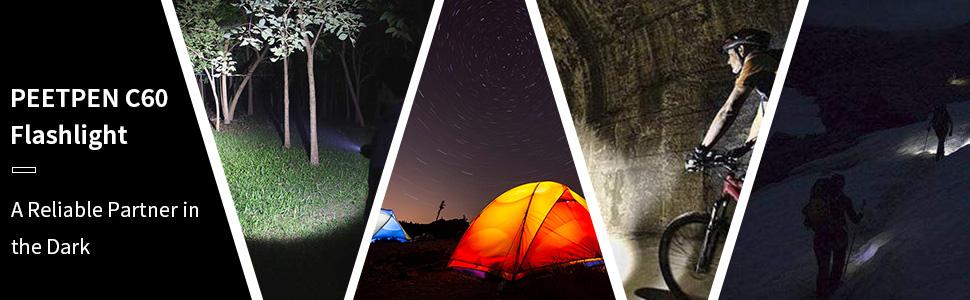Camping flashlight, Hiking flashlight, Outdoor Torch Light, Night fishing flashlight, Travel