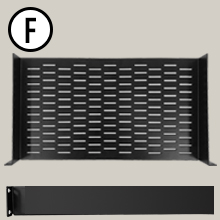 "AxcessAbles RKSHLFVT1US Universal Vented 1U Rack Tray, 10"" deep (No Lip), for 19"" Rack Cabinet"
