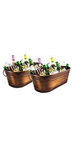 colt, copper, beverage tubs, set, 15qt, metal, party, buckets