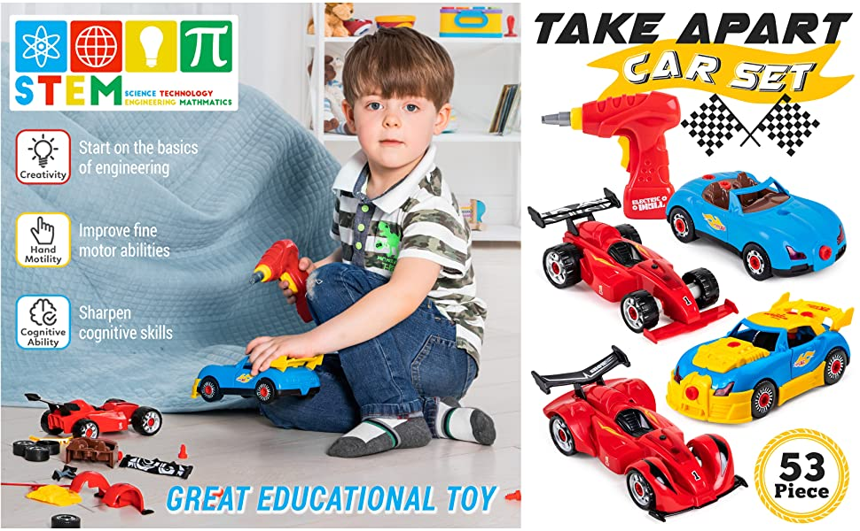 Kids Play Educational Self Assembly Take Apart Car Construction Toy Kit 2in1 Set