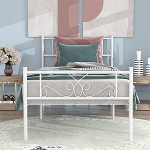 twin bed for kids  SimLife Single Bed Platform Kids Boys Adult No Box Spring Needed Princess White Twin Size Bed Frame with Headboard and Footboard Mattress Foundation cbd10dc1 8e54 49f4 992e f8ceb165b8e5