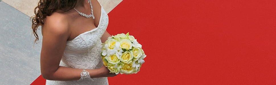 1,00m x 4,50m Rot Hochzeitsl/äufer Hochzeitsteppich VIP-Teppich Schwer Entflammbarer Teppichl/äufer Empfangsteppich Eventteppich Rutschfest SALSA