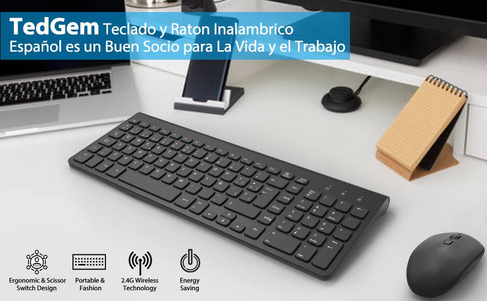 Teclado y Raton Inalambrico Español, TedGem 2.4G Ergonómico Teclado Inalambrico USB Teclados Inalambricos Ordenador 2-in-1 USB Nano para Win ...