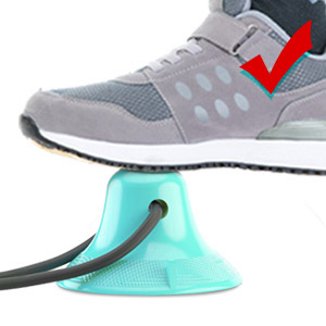 Step on the suction cup with your feet