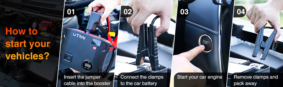How to starter your vehicles with utrai car jump starter
