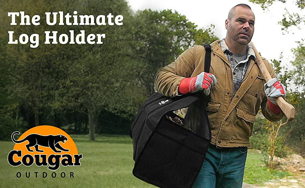 Carry more wood comfortably, with the Cougar Outdoor premium quality Denier canvas, water-resistant