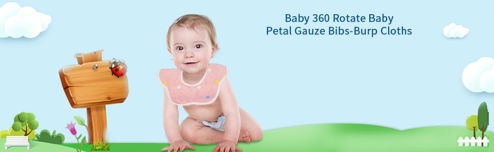 Baby Drool Bibs Baby Petal Gauze Bibs-Burp Cloths Absorbent