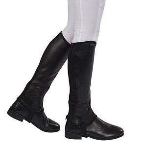 Image of a models legs wearing the chaps against a white background
