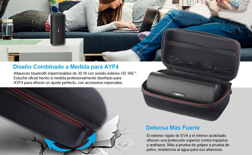 EVA Estuche Rígido/Estuche de Viaje para AY-F4 Altavoz Bluetooth Inalámbrico Portátil Resistente al Agua.: Amazon.es: Electrónica