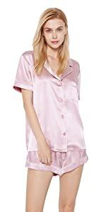 silk pajamas short