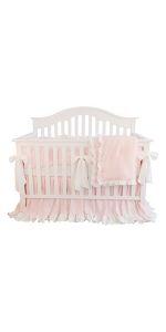 3 Pieces of Crib Bedding Set- Light Pink