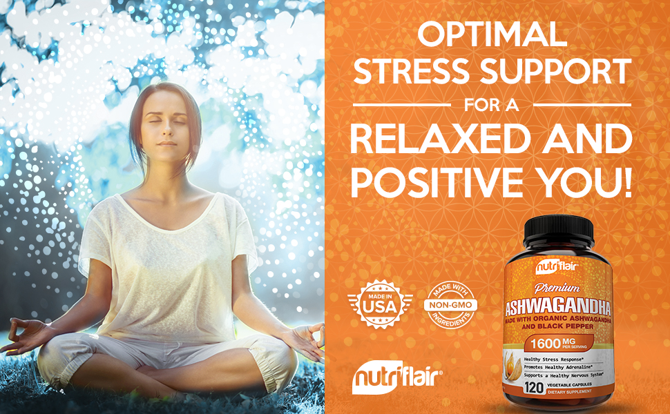 nutriflair ashwagandha capsules with black pepper bioperine adrenal support stress relief response