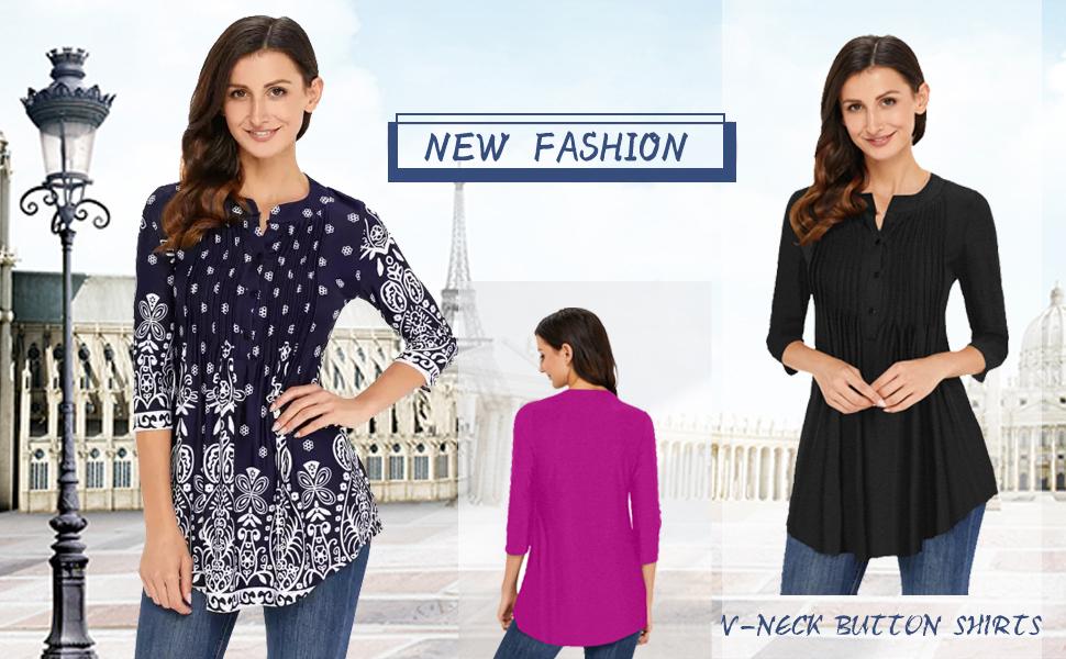 Buttons V Neck Shirts for Women Teen Girls