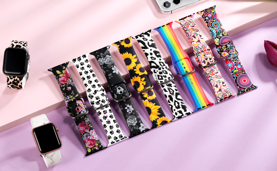 Various fashionable and beautiful pattern bands with popular elements to dress up your iWatch