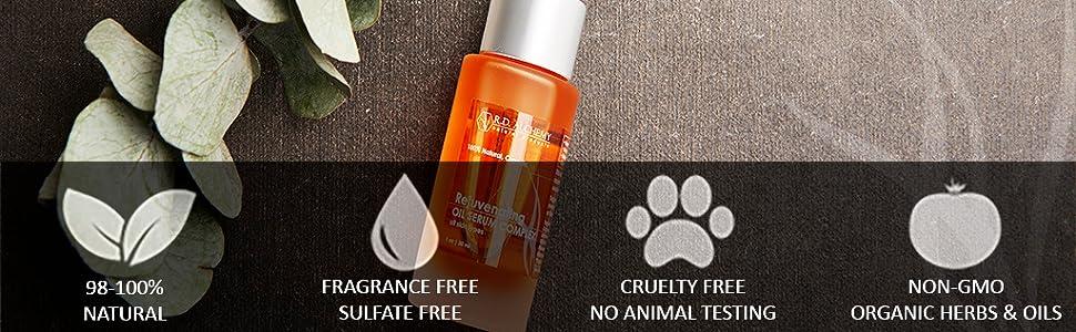 98-100% Natural Fragrance Free sulfate free cruelty free no animal testing non GMO Organic Herbs