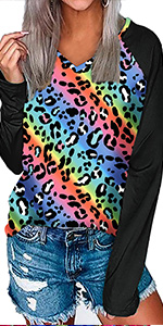 leopard print tops for women colorful shirts womens long sleeve tops v neck shirts