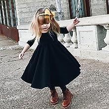 girls black twirl dress long sleeve