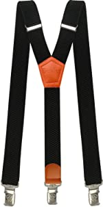 Mens Suspenders Heavy Duty with Strong Clips Big Tall Braces Adjustable Black