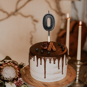 BLACK GLITTERED CANDLES X 12 BIRTHDAY PARTY CAKE BY CREATIVE PARTY