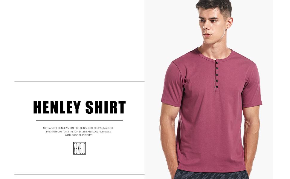 Henley - Camiseta de manga corta de algodón con botones Henley