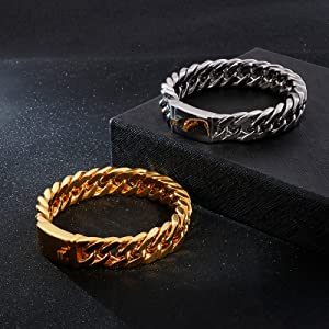 Mens Bracelets Stainless Steel Curb Cuban Chain