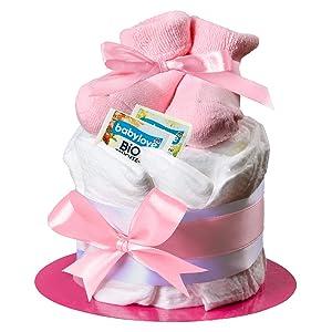 Homery Windeltorte mädchen pink Geburt geschenk taufe