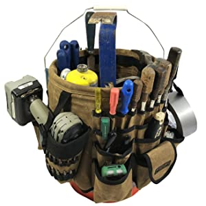 Tool bucket organizer with different tools in the pockets