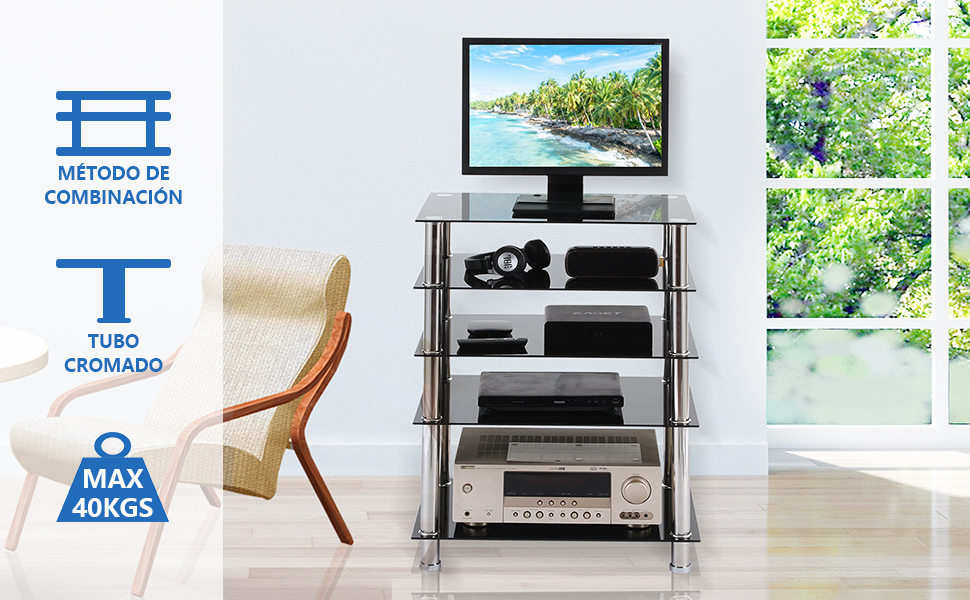 RFIVER Mueble HiFi Mesa TV Cristal con 5 Estante para Equipos de ...