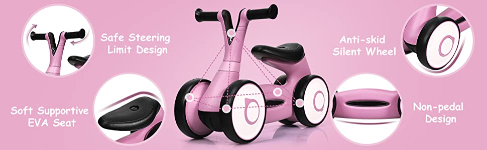 safe steering limit design, anti-skid silent wheel, non-pedal design, soft supportive seat