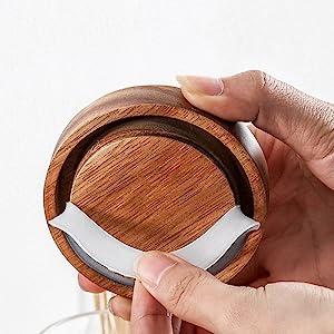 wooden glass jar