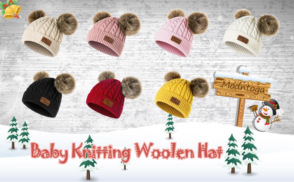 Details about  /Hand knit baby spring autumn hat 2 sizes newborn pompom beanie