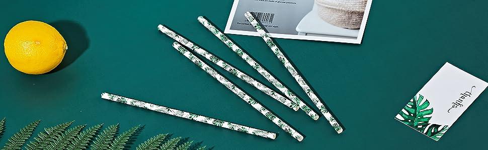 paper straws drinking straws disposable tiki Hawaii luau party supplies decoration