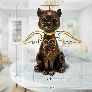 cat memorial statue, cat memorial gift, angel cat with wings, cat angel figurine, cat angel statue