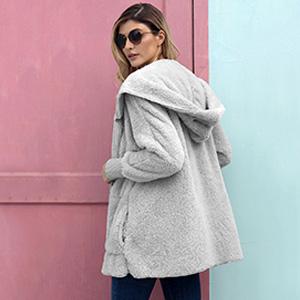 women open front fuzzy coat