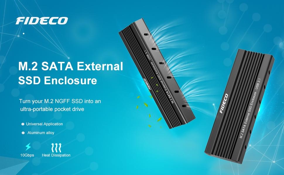 FIDECO M.2 SATA NGFF Carcasa Externa SSD, USB 3.1, Gen 2, 10 Gbps ...