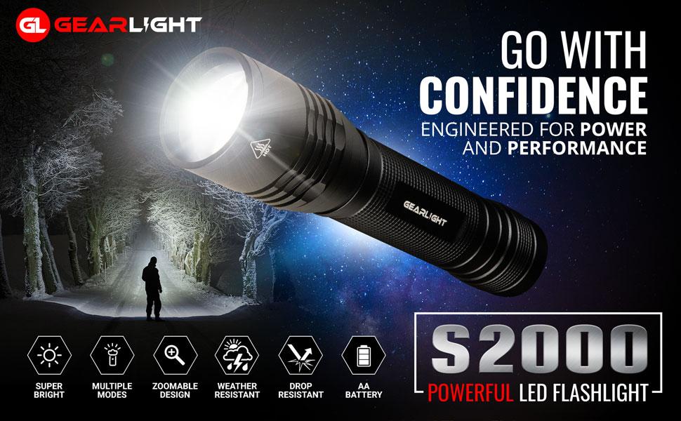 GearLight High-Powered LED Flashlight S2000 Brightest High Lumen Light with 5