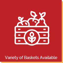 """Graphic of a fruit basket. Text below reads, """"Variety of Baskets Available"""""""
