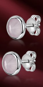 Round Bezel Pair of Earrings for Women - Ear Studs with Gemstones - Swarovski Crystals