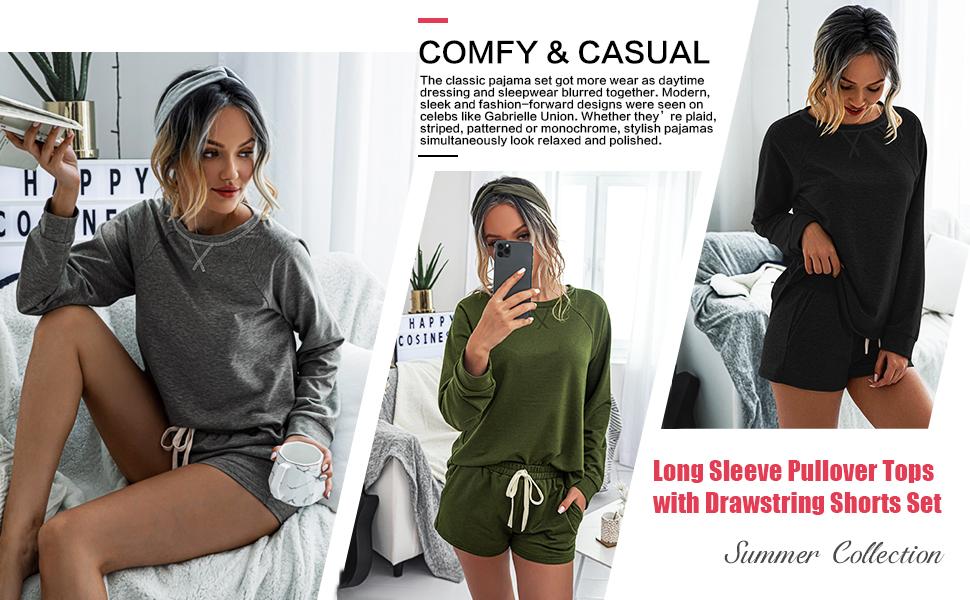 solid plain color sets pj sets cotton cute lounge pajma set drawstring shots set comfy cozy clothing