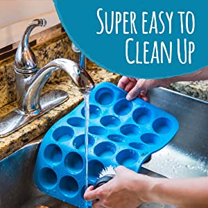 Silicone Muffin Pans are super easy to clean and dishwasher safe